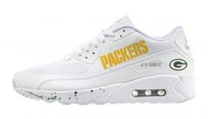 Green Bay Packers Green Splat Custom Nike Air Max Shoes White by BandanaFever.com