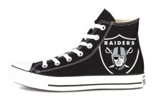 Las Vegas Raiders Custom Converse Shoes Black High by BandanaFever.com