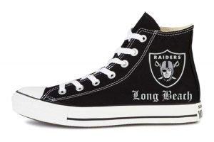 Raiders Long Beach Custom Converse Shoes Black High by BandanaFever.com